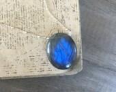 Labradorite Necklace, Sterling Silver Necklace, Natural Stone Pendant, Healing Stone, Blue Pendant, Oval Pendant, Cobalt Blue Flash