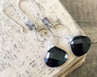 Black Onyx Earrings, Sterling Silver Earrings, Black Gemstone Earrings, Dangle Earrings, Black Silver Earrings, Black Stone Earrings, Dangle