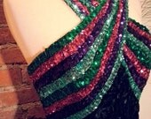Sequin Disco Halter Dress