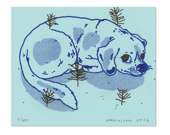 Dog Print on Blue