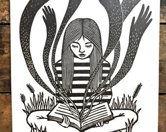 Ghost Stories   Linocut Print of Reading Girl