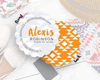 Round Business Cards, Social Media Cards, Blogger Contact Cards, Custom Business Cards, Calling Card, Cards & Case// Alexis S-S30 UU4