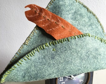 Felt Hand Stitched Peter Pan Hat childrens Costume