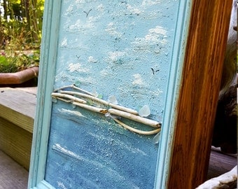 Seaglass & Driftwood Wall Art , Framed Acrylic Painting , Rustic Boho Beach , Nautical Decorating