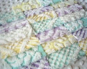 Vintage Chenille Bedspread Squares -Purple, Aqua and Yellows- PRETTY