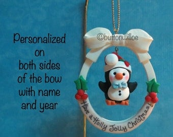 Dangling Baby Penguin Christmas Ornament Personalized Holly Jolly Christmas