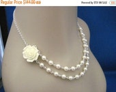 Bridesmaid Jewelry Set of 6 Cream Rose and Pearl Double Strand Necklaces