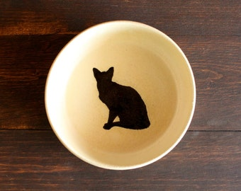 Ceramic CAT Food Bowl - Handmade Blue Cream Stoneware Bowl - Cat Water Bowl - Black Cat Silhouette - Ready To Ship