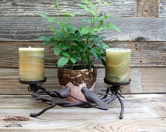 Cast Iron Bird and Twig Candle Holders