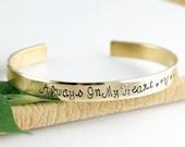 Always in my Heart, Gold Cuff Bracelet, Personalized Cuff Bracelets, Remembrance Jewelry, Custom Bangle Bracelets, Memorial Bracelet