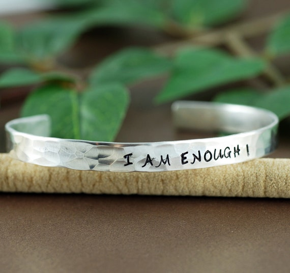 I am ENOUGH, Silver Cuff Bracelet, Personalized Bracelets, Affirmation Jewelry, Custom Bangle Bracelets, Inspirational Jewelry