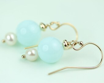 Peruvian Blue Opal Earrings with pearl by art4ear, gift for her under 30 dollars, aqua blue earings, Free shipping in Canada