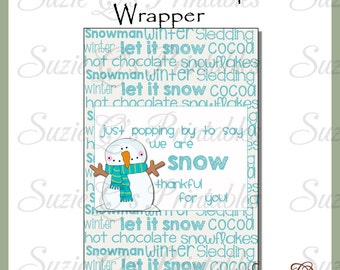 Snowman Popcorn Wrapper 1 - Digital Printable - Immediate Download