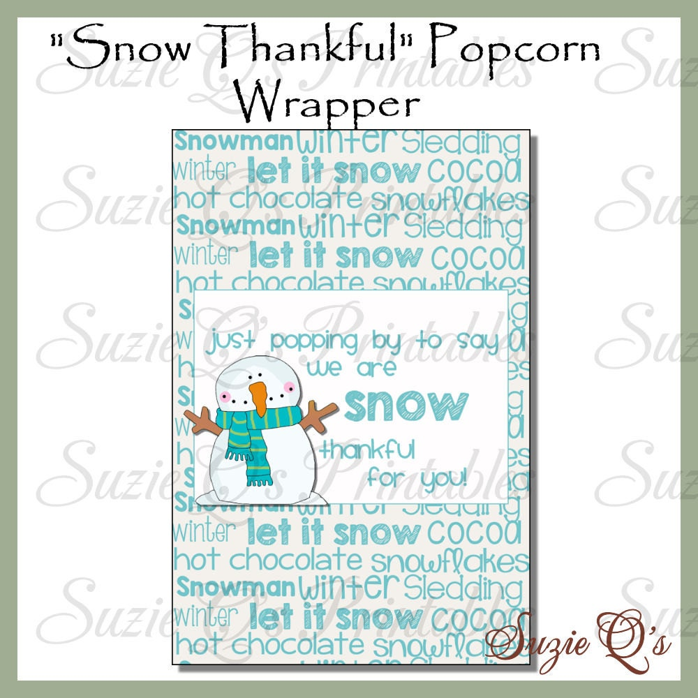 Snowman Popcorn Wrapper 1 Digital Printable Immediate
