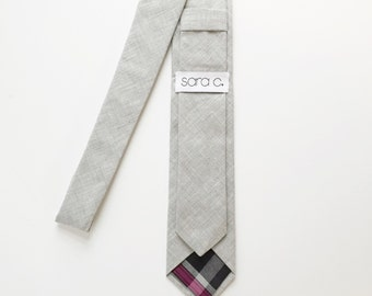 Skinny Tie - men's skinny neck tie - light grey - custom - monogram
