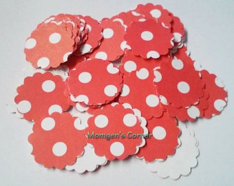 Red Polka Dot Hand Punch Circles 100 Pcs, For Cards, scrapbooking and more