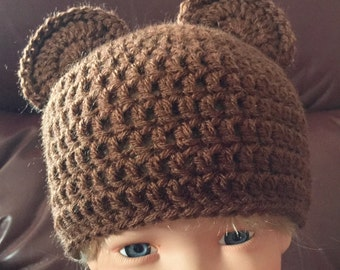 Brown teddy bear baby hat