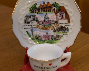 Vintage Minature Washington DC Cup and Saucer Display