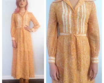 Vintage Pastel Paisley and Lace Maxi Dress