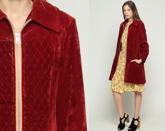 Custom Listing for Jeanie - Velvet Jacket 70s Coat RUST Red Boho QUILTED Jacket Car Coat Vintage Bohemian Hippie 1970s Collared Retro Large