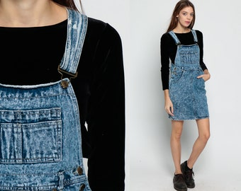 90s Denim Dress Overall Dress ACID WASH Mini Jumper Jean Dress Suspender 1990s Grunge Blue Low Cut Open Sides Small Medium