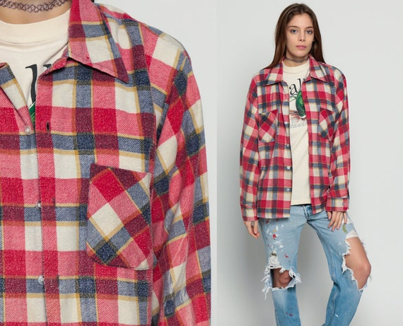 Flannel plaid shirt 70s red white checkered lumberjack 1970s for Navy blue and red flannel shirt