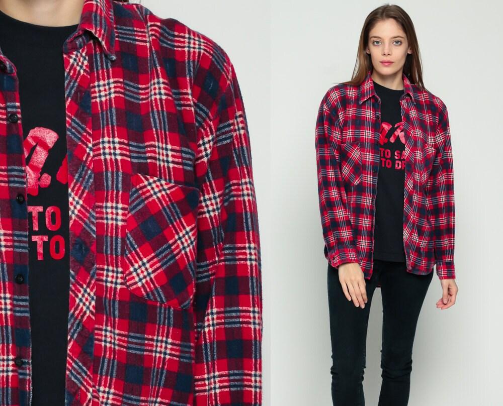 Flannel shirt 90s red blue plaid grunge lumberjack navy white for Navy blue and red flannel shirt