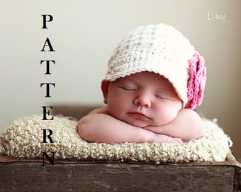 Crochet Pattern- Newsgirl Hat, Baby girl hats, Crochet baby hats, Pattern Newsgirl Hat, Newsboy hat for girls, Crochet newsboy hat