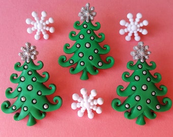 WHIMSICAL CHRISTMAS TREES Snowflakes Silver Baubles Dress It Up Craft Buttons