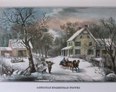 Currier and Ives- American Homestead Winter, 8.5 x 11 in Reproduction Print, Bookplate, 1978 Unframed Vintage Book Print