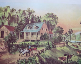 Vintage 1983 Currier & Ives Print- American Homestead Summer 12 x 10 in