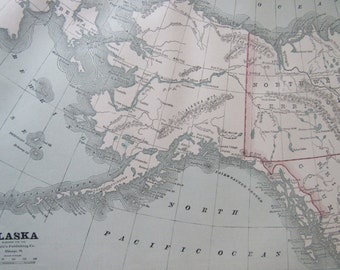 1891 Map- Alaska/Wyoming- Antique Atlas Page 2-Sided 11 x 14.5 in Unframed Wall Decor