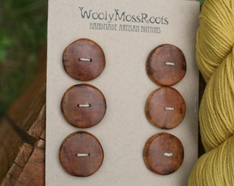 6 Apple Wood Buttons- Handmade Wood Buttons- Reclaimed Wood- Knitting, Sewing, Craft Buttons- DIY Knitting Supply