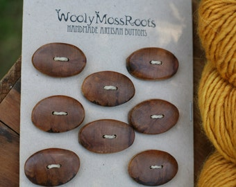 8 Apple Wood Buttons- Handmade Wood Buttons- Reclaimed Wood- Knitting, Sewing, Craft Buttons- DIY Knitting Supply