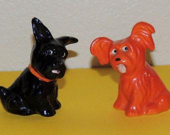 Old German Black and Orange Dog Salt and Pepper Shakers