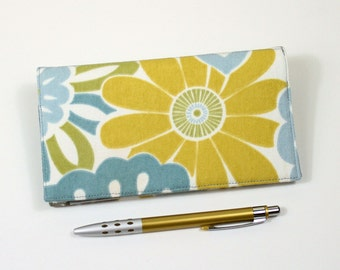 Fabric Checkbook Cover with Pen Holder for Duplicate Checks - Aqua Blue and Golden Yellow Flowers
