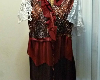 Bordeaux Vest Jacket Medium, Large, XL, 1X Valentines Day Marsala Rust Red Burgundy Crochet Vintage Doily Womens by Savoy Faire