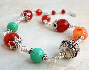 Carnelian and Turquoise Bracelet, Artisan Bali Sterling Silver,  Gemstone Handmade Jewelry, Gift for Her