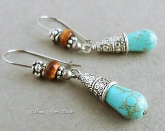 Teal Magnesite and Tiger Eye Earrings, Hypoallergenic Stainless Steel Earwires, Brown and Blue Gemstone Drop Earrings