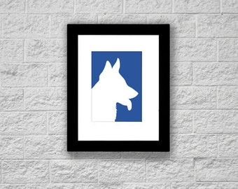 Modern German Shepherd Silhouette Art Print, Printable Art, Instant Download, Dog Art Print