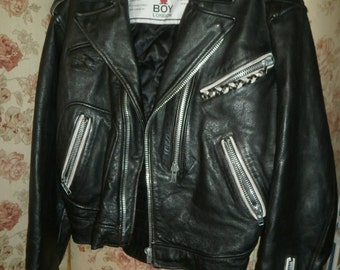 BOY LONDON Men's Medium Black Leather Motorcycle Jacket Vintage 1980's