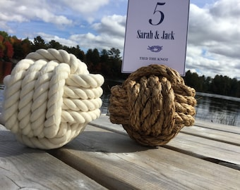 1 Nautical Wedding Table Number - Sample Knot in Manila or Cotton