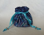 Fabric Pouch - Medium Size - Traveling Jewelry Bag - Drawstring Tote - ROYAL MONTAGE
