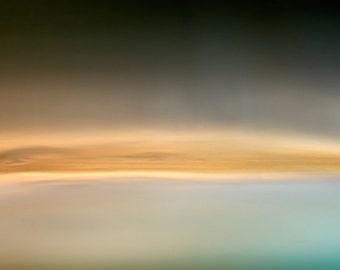 Orange Wave, light blue, yellow, landscape wall art, modern landscape, unique photograph, emotional photo, rustic wall art, giclee canvas