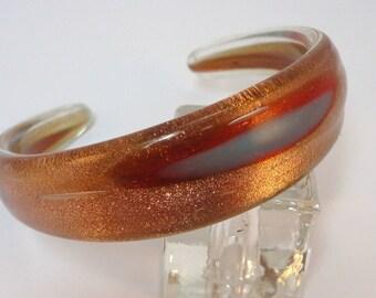 70s  Bronze glitter glass cuff bracelet
