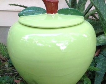 Cookie jar, Apple, green, teacher gift, treat jar, ceramic