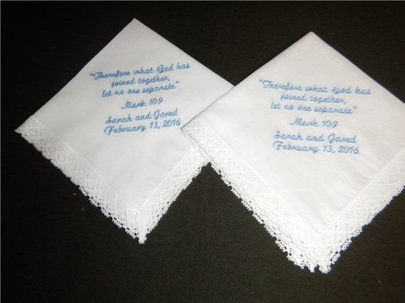 2 Wedding handkerchiefs - FREE SHIPPING - Each under 40 words - Custom wedding handkerchiefs -  Save the Date - machine embroidered
