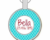 Quatrefoil Pattern Personalized Dog ID Pet Tag Custom Pet Tag You Choose Tag Size & Colors-