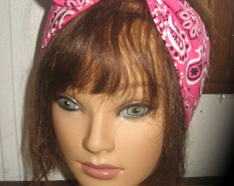 Womens Hair BANDANA, summer hair scarf, Hot Pink cotton headscarf, self tie hair bow, bandana,  hairscarf, pinup women, head scarves #402