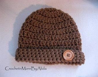 Crochet baby boy hat,  0 to 3 months, boy hat, Crochet hat Boy,  photo prop, hat baby boy, Baby Beanie, Baby boy gift